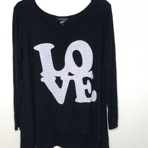 Ashley Stewart LOVE black long sleeve  top